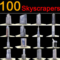 100 buildings skyscrapers 3d model