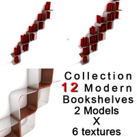shelves book modern 3d obj