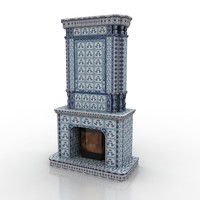 3d model fireplace gzhel