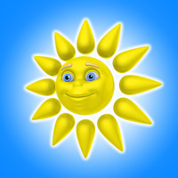 3d cool cartoon sun model