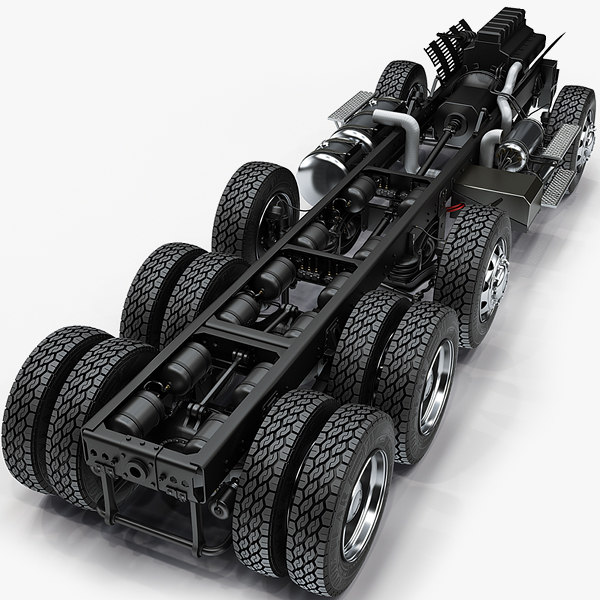3d truck chassis completely model