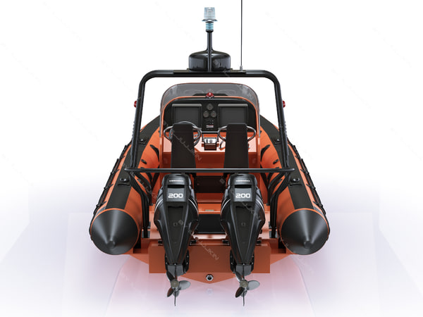 3ds max inflatable lifeboat zodiac engine - Inflatable lifeboat Zodiac RIB Hurricane and engine Mercur... by iljujjkin