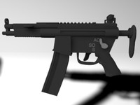 mp5k submachine 3d c4d