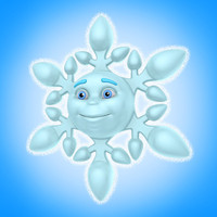 3d cool cartoon snowflake model