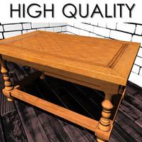 wooden table floor obj