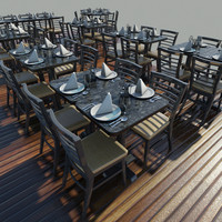 3d model of chairs table setting