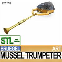 3d mussel trumpeter bruegel stl model