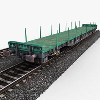 3ds max flat wagon railway tracks