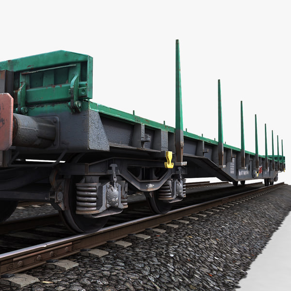 3ds max flat wagon railway tracks - Flat Wagon 1... by papillon
