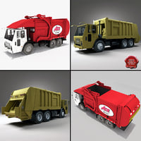 3d model garbage trucks