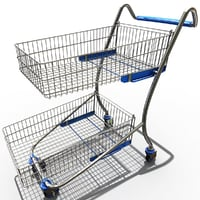 3d model supermarket trolley v3