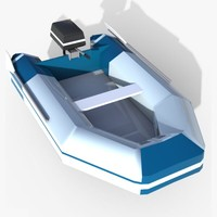 Zodiac Motor Boat - Low  Poly