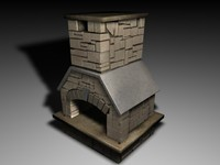fireplace stone r 3d model