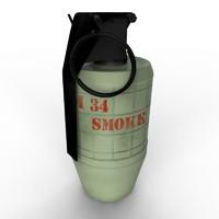 m34 smoke grenade 3d obj