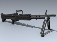 3d model army m60 machine gun