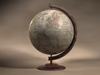 Old wood tabletop globe