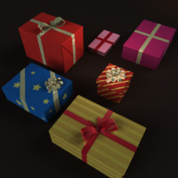 3d boxes ribbons model