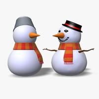3d snowmen icon statue model