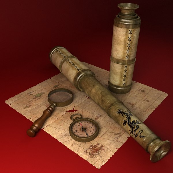 3d model telescope magnifying glass compass - Telescope, Magnifying Glass, Compass... by bdcat