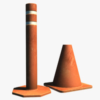 3d model of resolution traffic cones