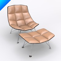 Jehs Laub Lounge Chair and Ottoman-Wire Base-Fixed Back