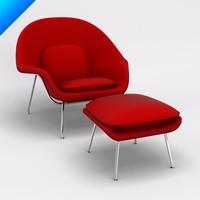 3d 3ds womb chair ottoman knoll