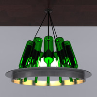 3d model of recycled wine bottle lamp