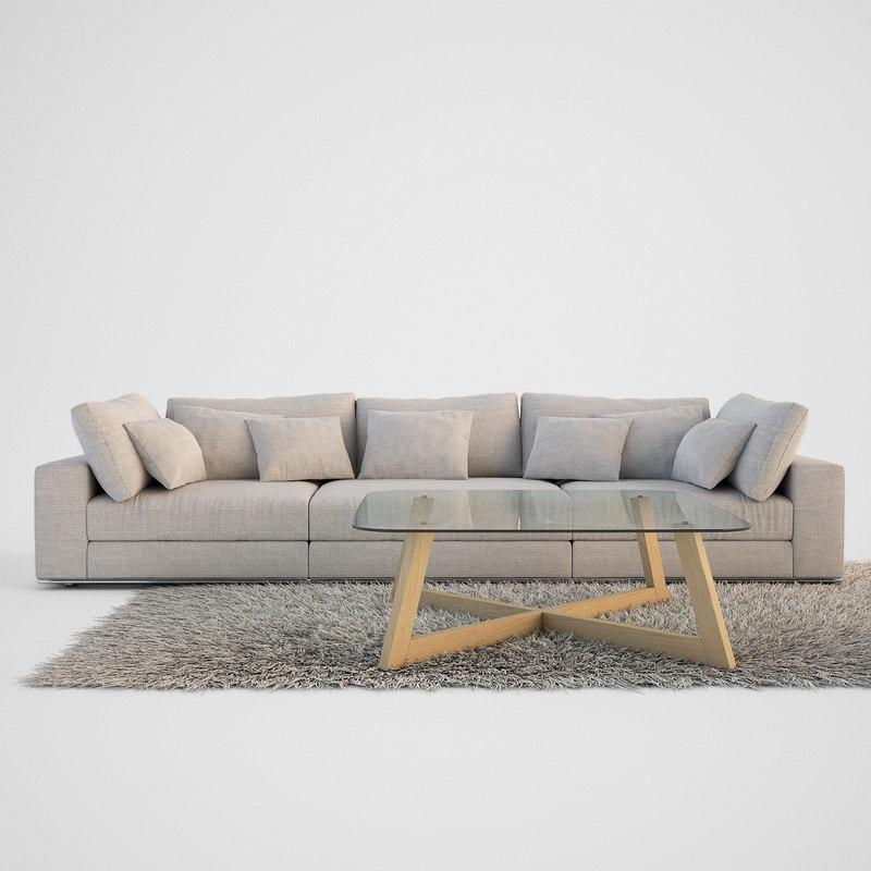 3d realistic sofa set coffe table model for Sofa table revit