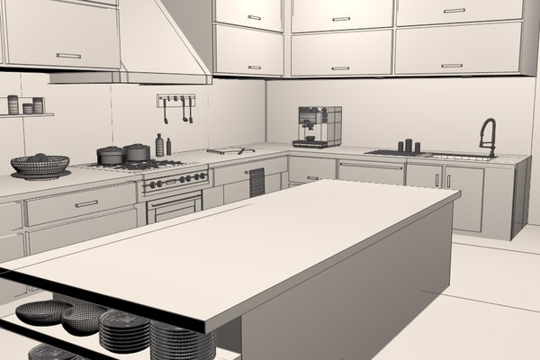 modern kitchen 3d model - Modern Kitchen... by Ladvox