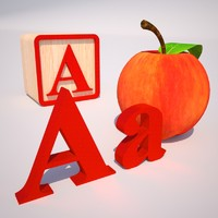 3d 3ds letter alphabet block apple