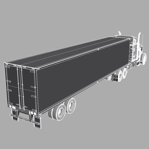 3d model freightliner coronado trailer - Freightliner Coronado with trailer... by Alexart247