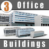 3d model 3 office buildings