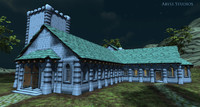 medieval church modular set 3d ma