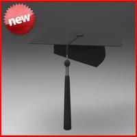 3d graduation hat model
