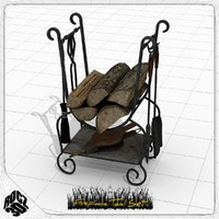 3d set fireplace tools model