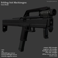 sub machinegun fold gun 3d model