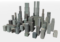 3d city buildings skyscrapers