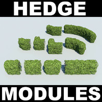 3d model of photoreal modules hedges