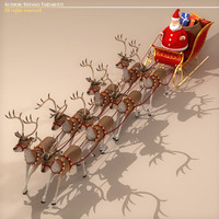 Toon Santa in Sleigh with Reindeer