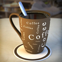 3d model cup coffee mugs spoons