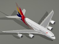 3d airbus a380-800 asiana airlines model