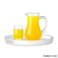 Pitcher and glass of orange juice