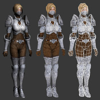 3d model rigged female warrior character