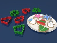 christmas cookies cutters 3d model