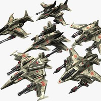 6 jet fighters 3d max
