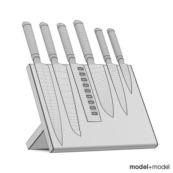 maya set knives stand wall - Knives set with stand and wall holders... by modelplusmodel