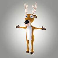 cool cartoon christmas deer 3d model