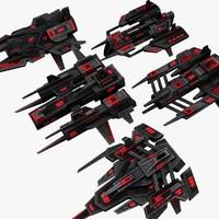 5 attack drones 3d max