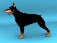 3d dog dobermann model