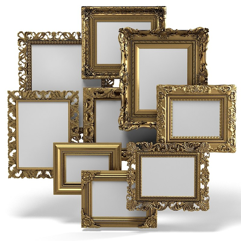 Grand Carved Picture Frame Set mirror baroque victorian carving ACCENT VINTAGE OLD ANTIQUE.jpg